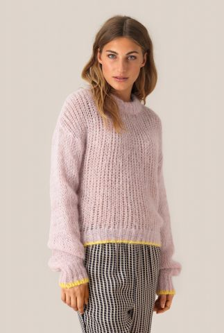 roze trui van wolmix met gele boorden lolla knit o-neck