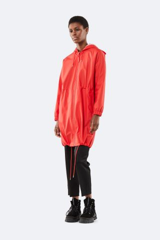 rode regenjas met tunnelkoord long w jacket 1278 red