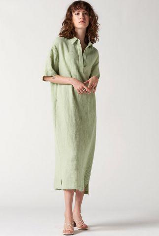 lichtgroene midi jurk met klassieke kraag rubanier dress s/s