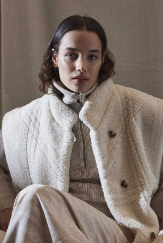 off white faux fur oversized bodywarmer met knoopsluiting unni vest