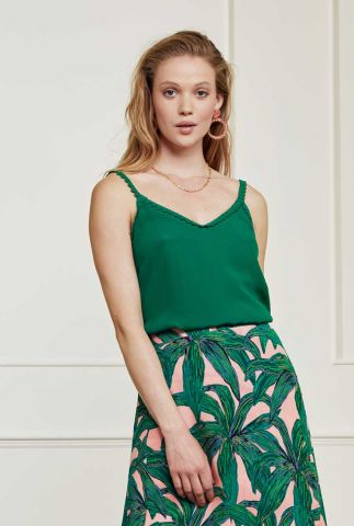 donker groene mouwloze top met geborduurde details lora top
