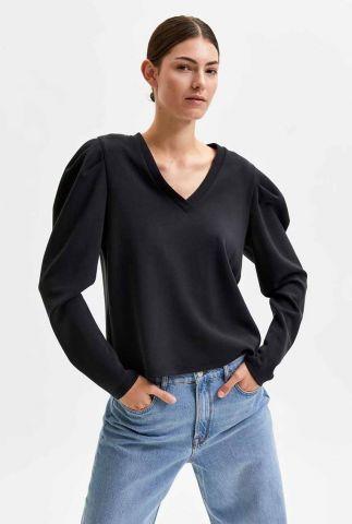 zwarte sweater met pofmouwen lora v-neck sweat top 16081826