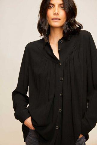 zwarte viscose blouse met plooi detail emira