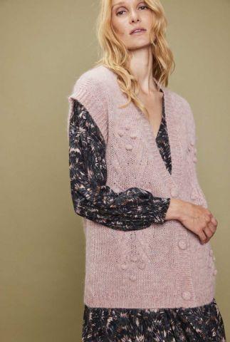 half lang licht roze vest van wolmix loulino