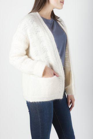 zacht crème kleurig vest van mohair mix met ajour details lours