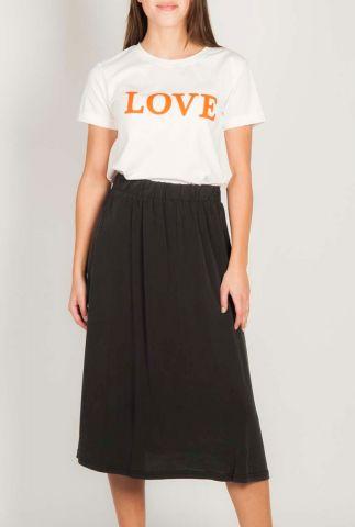 wit katoenen t-shirt met oranje tekst opdruk love tee