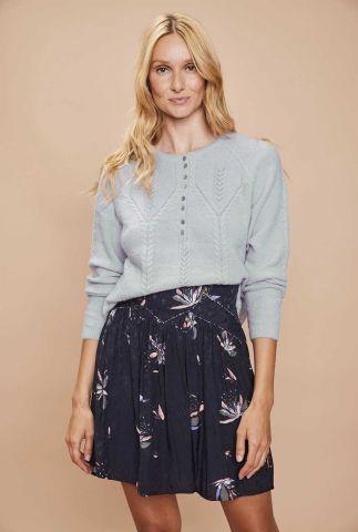 licht blauwe trui met ajour en kabel details luciano