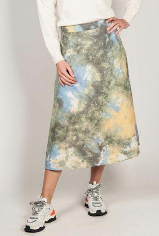 a lijn midi rok van viscose met gekleurde tie-dye print lucy skirt