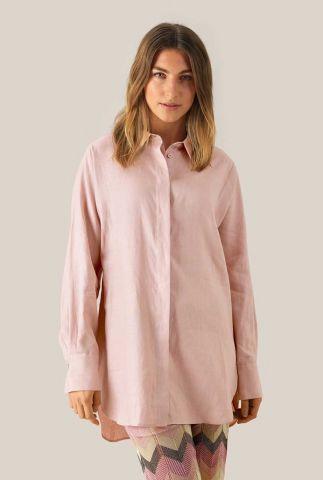 licht roze linnen blouse met klassieke kraag en blinde sluiting lune ls shirt