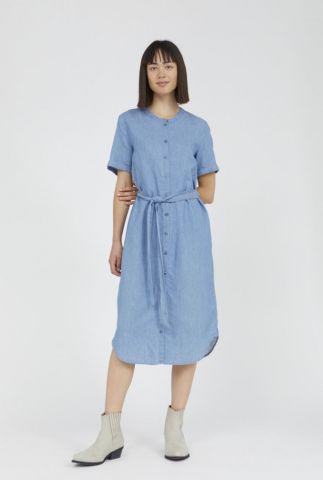blauwe denim look doorknoop jurk met ceintuur maare 30002758
