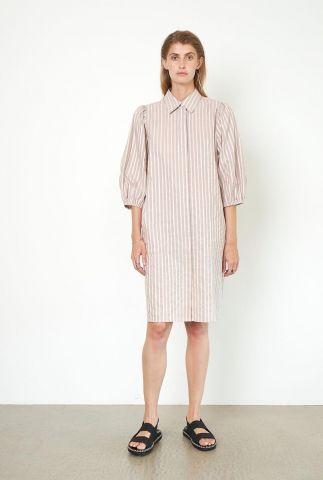 beige gestreepte blouse jurk mabel new dress