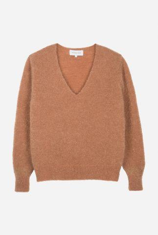fijn gebreide trui van kid mohair mix met v-halslijn lecourbe