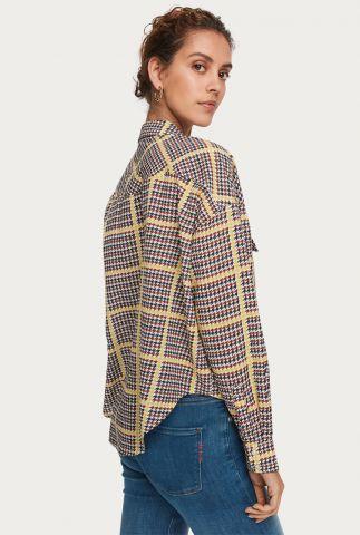 oversized blouse met ruit dessin van bio katoenmix 157162