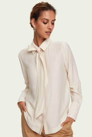 off-white viscose blouse met strikhals 158888