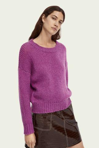 paars gebreide trui van een zachte wolmix met ronde hals 159223