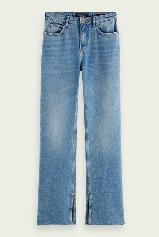 straight fit jeans met hoge taille en split details 158767