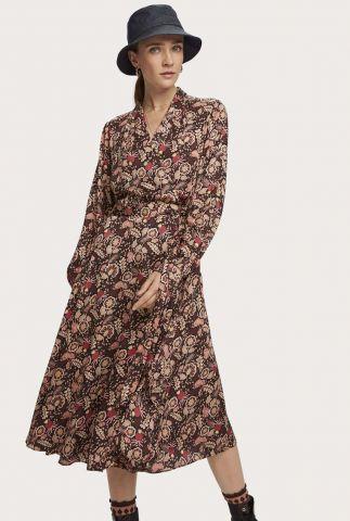 midi jurk met overslag en bloemen dessin 158972
