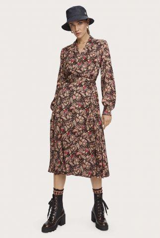 bruine midi wikkel jurk met bloemen dessin 158972