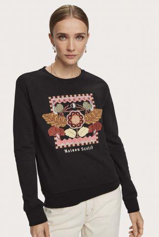 zwarte biologisch katoenen sweater met geborduurd dessin 159311