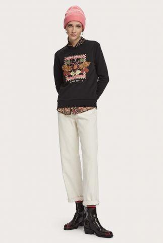 zwart geborduurde sweater van biologisch katoen 159311
