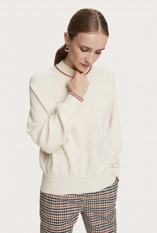 off-white wolmix trui met hoge ronde hals 159202