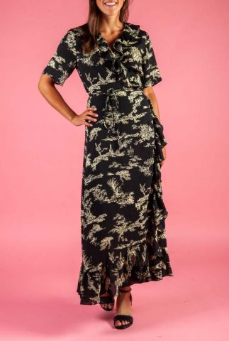 zwarte wikkel jurk met botanische print en ruches mako wrap dress
