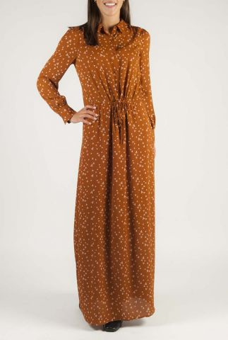 roest bruine maxi jurk met logo dessin maley dress
