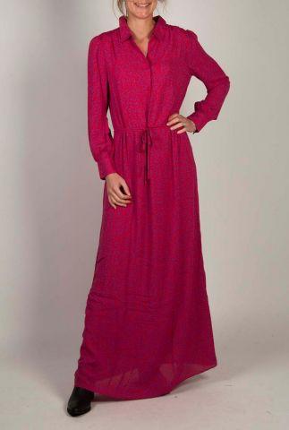roze maxi jurk met paarse luipaard print maley dress