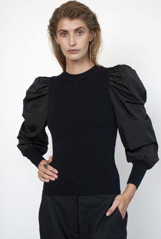 getailleerde zwarte rib trui met powmouwen malia knit o-neck