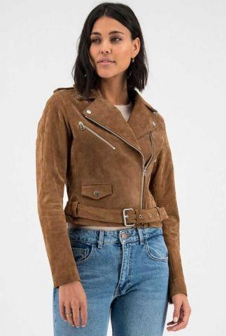 cognac kleurige suède biker jas met applicatie op rug mallory biker