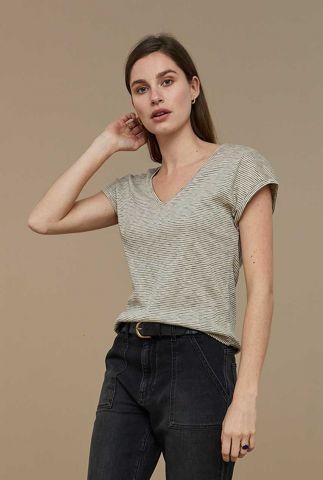 ecru kleurig gestreept t-shirt malu slub stripes top