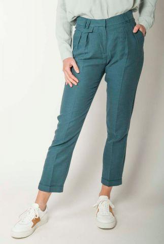 donker groene broek van linnenmix mansfield