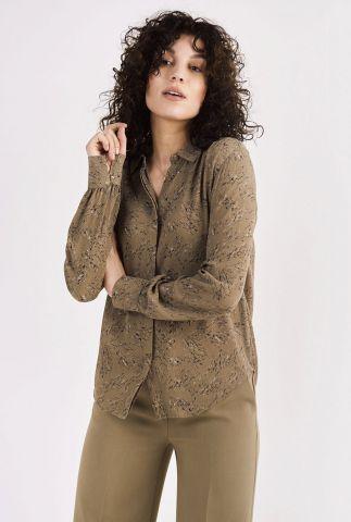 bruine blouse met all-over print maple rock dot shirt