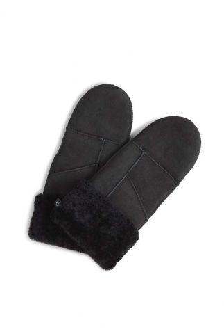 zwarte suède leren wanten bella sheepskin mitten