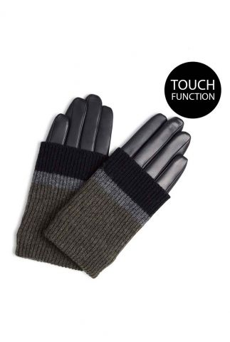 leren handschoenen met wol en touch functie helly glove black