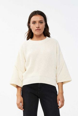 loose fit off white trui met ajour details mayke pullover