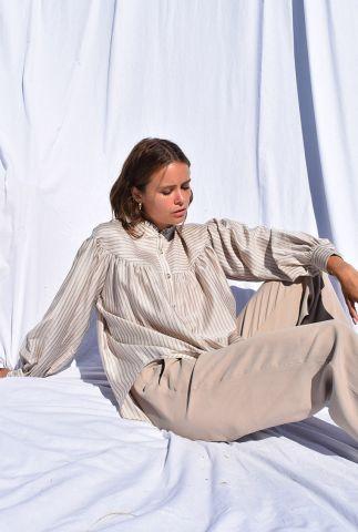 glanzende beige gestreepte blouse met ballonmouwen malakai