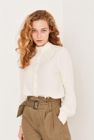 crème kleurige blouse met ruches en pofmouwen Vilora