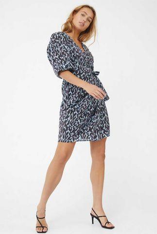 blauwe viscosemix wikkel jurk met all-over print dannell