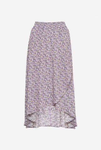 lila kleurige midi rok met overslag en bloemen dessin felisha