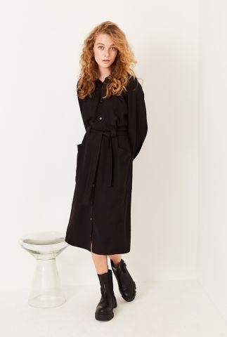 zwarte midi blouse jurk met pofmouwen Asmine