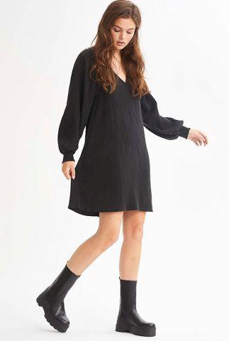 zachte zwarte crêpe jurk van modal mix met pof mouwen Embry