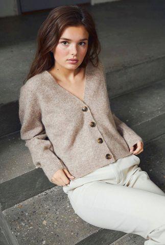 licht bruin vest van zachte wol mix met rib dessin Cydney