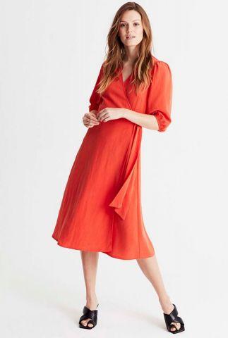 rode wikkel jurk met halflange mouw angelo