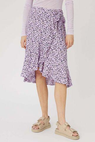 lila kleurige wikkel rok met bloemen dessin sylvia