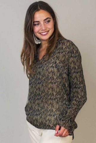 chiffon blouse met groene print meda blouse w21.59.2031