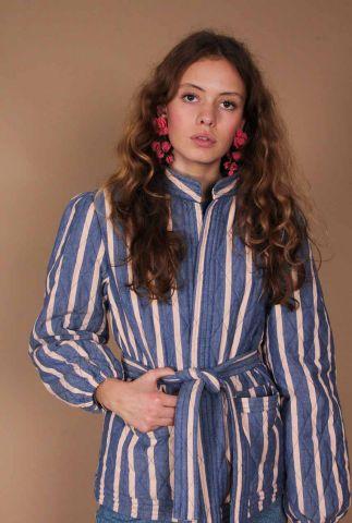 doorgestikte blauw met roze gestreepte jas met ceintuur melissa jacket