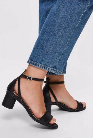 zwarte leren sandalen met blokhak merle leather high heel 16073013