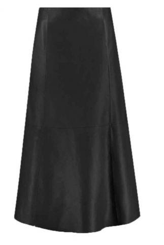 zwart leren midi rok merrith skirt noos