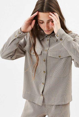 klassieke blouse met pied-de-poule ruit en borstzakjes metesa 7152